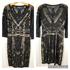 Sue Wong Lace Cocktail Dress Embroidered Beaded